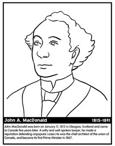 Canadian Prime Minister Mackenzie coloring page along with several