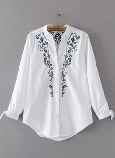 2017 Fashion Women Embroidery Blouse Shirt V Neck Lace Up Cuffs Curved Hem Ladies White Shirts blusas mujer Embroidery On Clothes, Embroidery Fashion, White Embroidery, Embroidery Dress, Top Chic, White Shirts Women, Fancy Tops, Embroidered Blouse, Mode Outfits