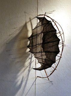 "Maureen Kelman ""Penumbra"", 2007, Mokume shibori, dyed and shaped, silk organza, bamboo"