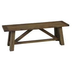 The Aubrey Bench is a stately and tasteful addition to your home whether paired with a table or as supplemental seating. Crafted in Mission style, its clean lines and smooth finish provide looks and comfort that last.  $197.99 Set includes: One (1) bench Materials: Acacia wood Finish: Walnut Dimensions: 18 inches high x 55 inches wide x 15 inches deep