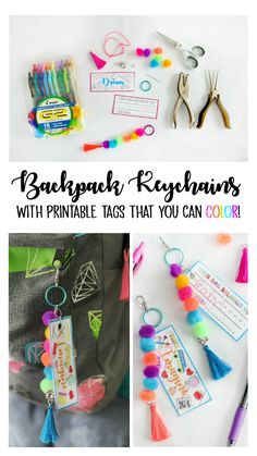 Make a Pom Pom Keychain With Printable Tags to Color Make a pom pom key chain to accessorize your back pack this year! With a printable name tag that you can color, it is completely customizeable to your own unique style and personality! Backpack Keychains, Backpack Tags, Diy Backpack, Diy Name Tags, Printable Name Tags, Crafts For Teens, Diy For Kids, Backpack Decoration, Diy Keychain