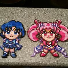 Sailor Moon and Sailor mercury perler beads by dazer24
