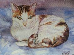 Gato. Acuarela y ceras Painting, Art, Crayons, Water Colors, Gatos, Art Background, Painting Art, Kunst, Paintings