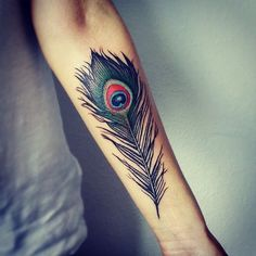 best peacock feather tattoos ideas on forearm