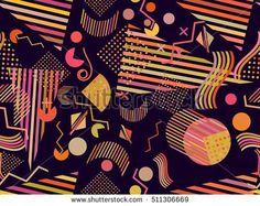 Memphis seamless pattern. Abstract seamless patterns 80's-90's styles. Vector illustration.