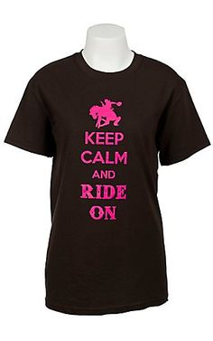 Cattilac Style Ladies Brown with Neon Pink Keep Calm & Ride On Short Sleeve Tee