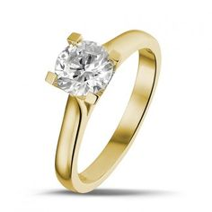 Yellow Gold Diamond Engagement Rings - 1.00 carat solitaire diamond ring in yellow gold