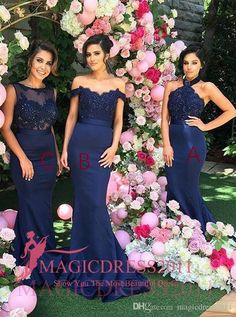 2016 Charming Navy Blue Lace Bridesmaid Dresses Mermaid Halter Custom Made Party Prom Gowns Cheap Vintage Maid of Honor Dress Custom Made New Bridesmaid Dresses Cheap Bridesmaid Dresses Long Maid of Honor Dress Online with 104.0/Piece on Magicdress2011's Store   DHgate.com