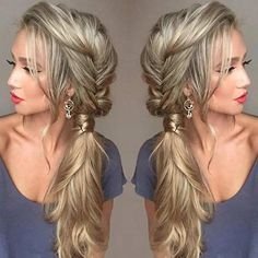 21 Pretty Side-Swept Hairstyles for Prom Messy Fishtail Braid into a Side Ponytail Easy Updos For Long Hair, Prom Hairstyles For Long Hair, Braids For Long Hair, Wedding Hairstyles, Bridesmaids Hairstyles, Bridesmaid Ponytail, Church Hairstyles, Pretty Hairstyles, Teenage Hairstyles
