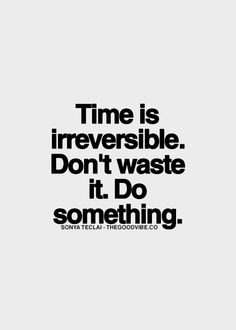 Time is irreversible. Don't waste it. Do something....   #quotes