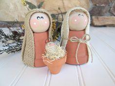 nativity set, holiday decor, rustic clay pot nativity, burlap nativity set, hostess gift, christmas nativity set , PRE- ORDER by whimsysweetwhimsy on Etsy