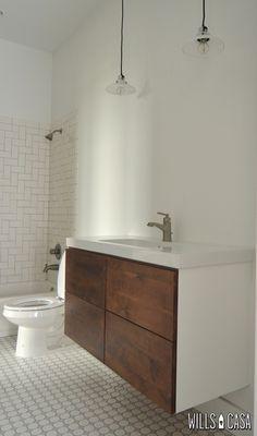 Modern Guest Bathroom   Wills Casa   Custom Wood Cabinet based on IKEA GODMORGON   IKEA ODENSVIK Counter/Sink