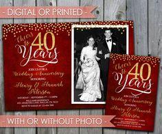 40th Wedding Anniversary Invitation, Wedding Anniversary Invite, 30th, 40th, 50th, 60th, 70th, 80th, Ruby, Red, Digital File, Printed,…