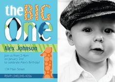1st Birthday Big One Patterns, Invitation - Digital File