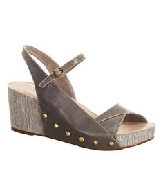 This Gray Asymmetrical Leather Slingback Wedge is perfect! #zulilyfinds