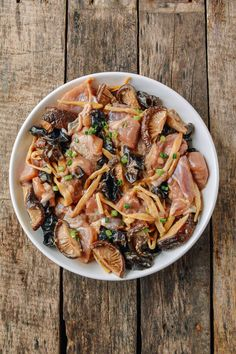 Steamed Chicken with Mushrooms & Dried Lily Flowers - The Woks of Life Steamed Chicken, Poached Chicken, Steam Chicken Recipe, Chicken Recipes, Vegetable Recipes, Asian Recipes, Ethnic Recipes, Chinese Recipes, Chinese Food
