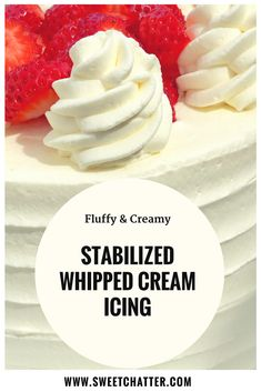 Stabilized Whipped Cream Icing: Perfect for Spring! Sweet Chatter Stabilized Whipped Cream Icing: Perfect for Spring! Köstliche Desserts, Delicious Desserts, Plated Desserts, Dessert Recipes, Food Cakes, Cupcake Cakes, Bolo Original, Whipped Cream Icing, Wipped Cream Frosting