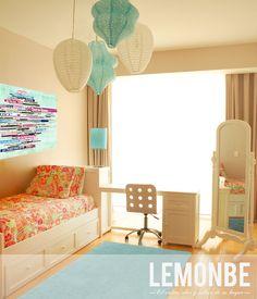 www. lemonbe.com  teenage girl room  azul, blanco, rosa mezcla perfecta para un cuarto juvenil, fresco y femenino sin caer en lo cursi.