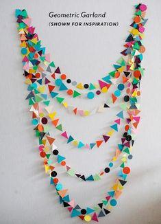 Guirnaldas de cartulina con formas geométricas #diy #garland #deco