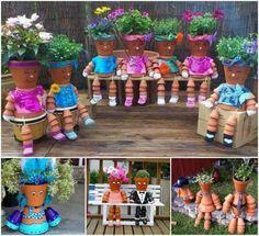 Ideas para decorar espacios del jardín con estas macetas en forma de muñecos.
