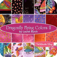 Dragonfly Flying Colors II Fat Quarter Bundle Laurel Burch for Clothworks Fabrics - Fat Quarter Shop