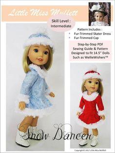 Little Miss Muffett Snow Dancer Doll Clothes Pattern Inch Dolls Doll Clothes Patterns, Pdf Sewing Patterns, Doll Patterns, Clothing Patterns, Dress Patterns, Ice Blue Dress, Glitter Girl, Glitter Uggs, American Girl Wellie Wishers
