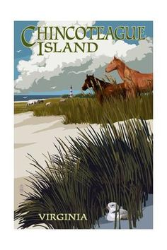 Chincoteague Island, Virginia - Horses and Dunes Art Print by Lantern Press at Art.com