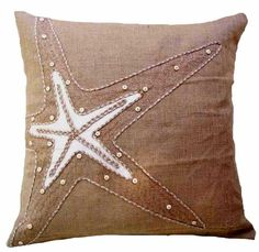 Burlap Starfish Pillow buy #coastal style #pillows at Seaside Beach Decor http://www.seasidebeachdecor.com