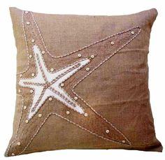 Burlap Starfish Pillow buy #coastal style #pillows at Seaside Beach Decor http://www.seasidebeachdecor.com
