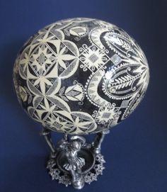 Black and White OSTRICH egg PYSANKA by ukrainianeastereggs on Etsy, $260.00