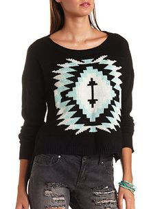 High-Low Aztec Pullover Sweater: Charlotte Russe