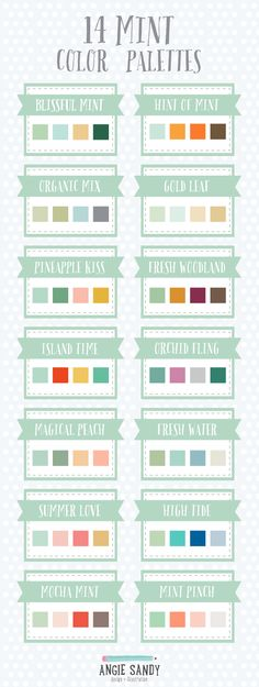 14 palettes de couleurs Mint | Angie Sandy Art Licences et #colorpalette #mint la #color de conception