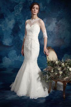 Winter, Amanda Wyatt long sleeved wedding dress  – She Walks with Beauty collection #weddingdress