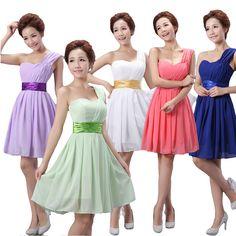 One Shoulder Bridesmaid Dresses Bandage Chiffon Short Dress Party  19$