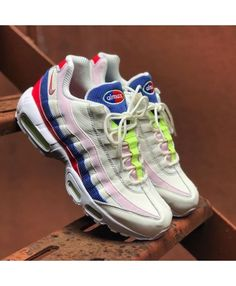 Nike Air Max 95 White Womens Green Blue Red Trainer, Bright color and light and reliable cushioning effect, Won the love of young people now! Latest Nike Sneakers, Cheap Sneakers, Air Max Sneakers, Sneakers Fashion, Sneakers Nike, Air Max 95 Pink, Air Max 95 White, Nike Air Max Trainers, Red Trainers