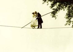 Karine Mauffrey &Jade kINDAR-martin's wedding on the high-wire Aerial Hammock, Aerial Silks, Circus Game, Funeral Pyre, Romantic Moments, Big Top, Wire Art, Cool Pictures, Family Pictures