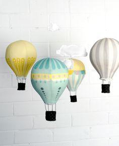 Hot Air Balloons - Fabric Panel in Sunshine. $20.00, via Etsy.