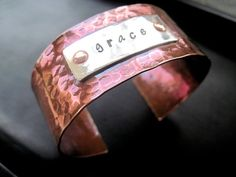Copper and Sterling Silver Textured Cuff by DesignsByTahra on Etsy, $35.00
