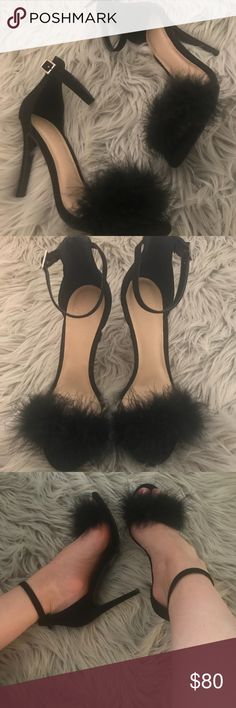 Black furry strappy heels Super cute pair of black furry strappy heels purchased from Revolve Clothing. Brand new, only tried on once. By The Way Shoes Heels