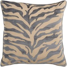 Safari Tan and Dark Slate Blue 18 x 18 Pillow w/ Down Fill - (In Down Fill (pillows))