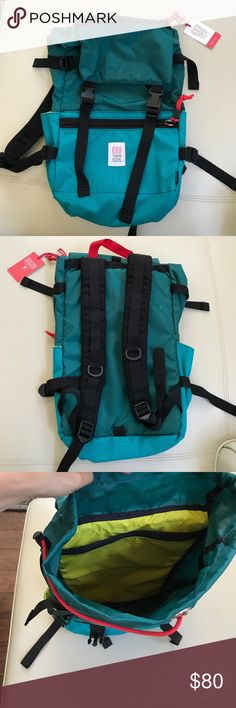 TOPO DESIGNS Colorado small hiking backpack Perfect for a short hiking or camping trip. Used once and the tag I just reattached - the inner drawstring - shown in last picture detached and needs to be reattached. Green teal and yellow with red and black accents. Purchased at a design conference for $150 . Find similar to compare at topodesigns dot com topo designs Bags Backpacks