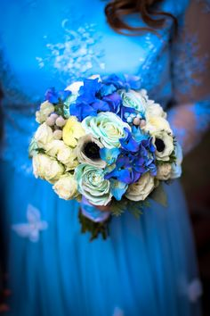 Baby blue and white bouquette