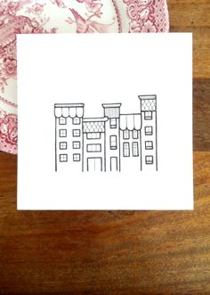 original drawing 'town' tall shops in modern by lightboxing