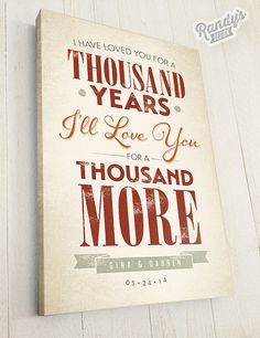 Canvas Lyrics, A Thousand Years  — Rustic Vintage Style Typography Art, Premium Canvas