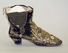 Embroideried shoe, for women. Late-Ottoman, 19th century.