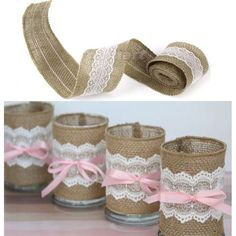 natuurlijke jute jute jute lint met kant afwerking rustieke bruiloft nieuwe 5m tape(China (Mainland))