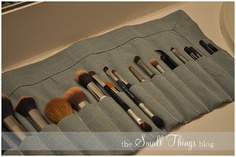 DIY Makeup Brush Roll. Simple and practical. From Kate at the Small Things Blog.