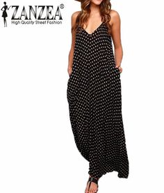 Polka Dot Maxi - SpaghettiStraps, Low back, floor length maxi with pockets is the perfect dress for the summer/fall add a cardigan and it can be worn all year. Pair with your favorite sandals and your ready for style and comfort all day long! Extended Plus sizes also! - On Sale for $19.00 (was $24.88)