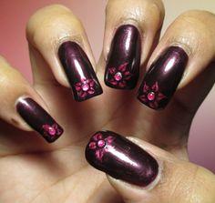 My Simple Little Pleasures: NOTD: Purple with Pink Flowers Drag Marble + Tutorial