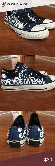 """Blue converse white writing I think they say """"all equal before the law"""". Dark blue worn once Converse Shoes Sneakers"""